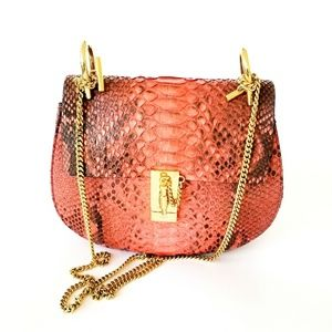 "CHLOE "" Drew"" Medium Salmon Snakeskin Leather Bag"